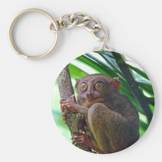 Tiny Philippine tarsier Basic Round Button Key Ring