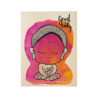 Tiny Pink Buddha Wood Poster