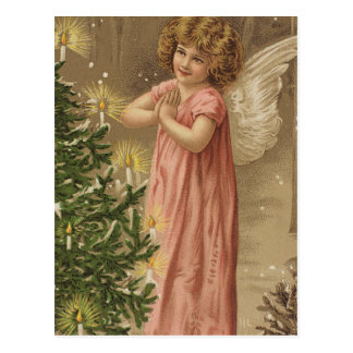 Tiny Pink Garbed Angle At Christmas Tree Postcard