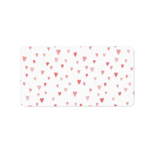 Tiny Pink Hearts Address Label