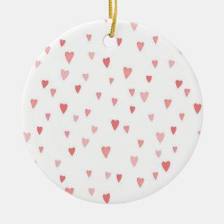 Tiny Pink Hearts Round Ceramic Decoration