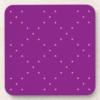 Tiny Pink Polka Dots in Diamond Grid On Purple Coaster