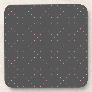 Tiny Pink Polka Dots in Diamond Grid Pattern Coaster