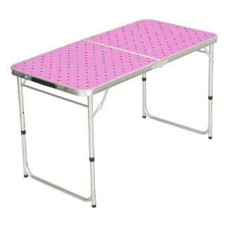 Tiny Pink Polka Dots on Lighter Pink Beer Pong Table
