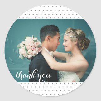 Tiny Polka Dot Wedding Photo Thank You Sticker