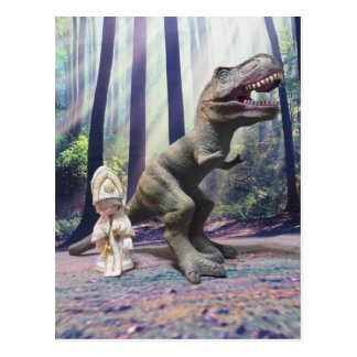 Tiny Pope and the Tyrannasaurus Rex Postcard