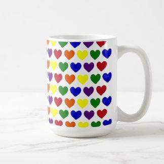 Tiny Rainbow Hearts Basic White Mug