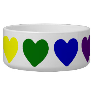 Tiny Rainbow Hearts Pet Water Bowl