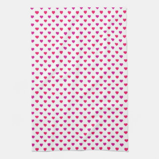 Tiny Red and Pink Heart Pattern Hand Towels