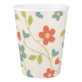 Tiny Red, Aqua, Green Flowers on Creamy White Paper Cup