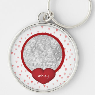 Tiny Red Hearts Design Photo Silver-Colored Round Key Ring