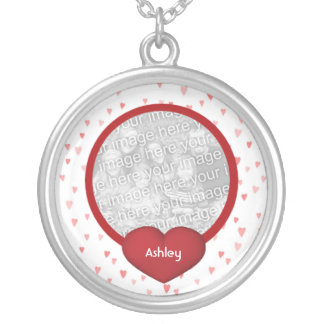 Tiny Red Hearts Design Photo Round Pendant Necklace