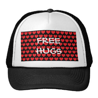 Tiny Red Hearts on Black Hat