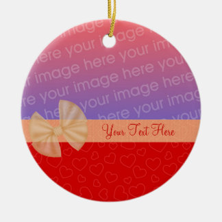 Tiny Red Hearts Ribbon Photo Ornament