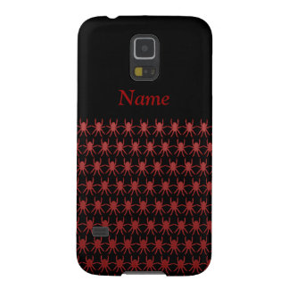 Tiny red spiders on black personalised case for galaxy s5