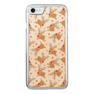Tiny Reindeer Christmas Holiday Pattern Carved iPhone 8/7 Case