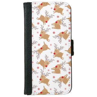 Tiny Reindeer Christmas Holiday Pattern iPhone 6 Wallet Case