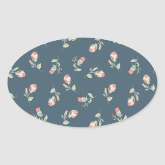 Tiny Rosebuds Navy & Pink Rose Floral Print Oval Sticker