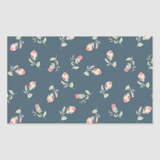 Tiny Rosebuds Navy & Pink Rose Floral Print Rectangular Sticker