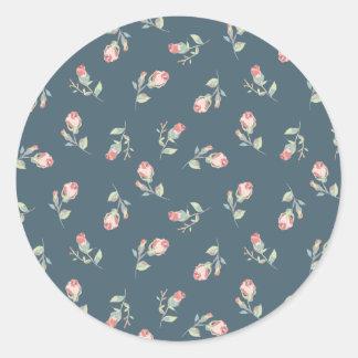 Tiny Rosebuds Navy & Pink Rose Floral Print Round Sticker