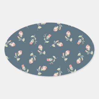 Tiny Rosebuds Navy & Pink Rose Floral Print Oval Sticker