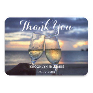 Tiny Round Sunset On Beach Wedding Thank You Card