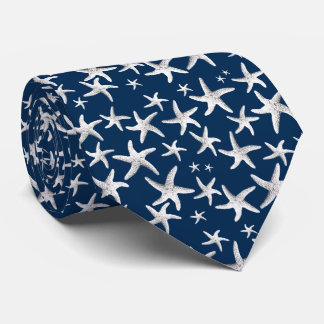 Tiny Sea Stars Tropical Navy Blue Tie