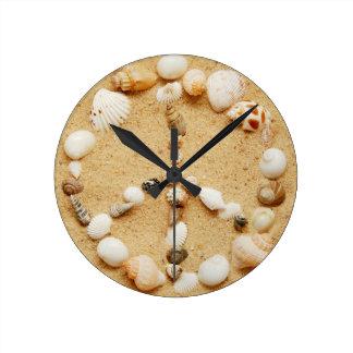 Tiny Seashell Peace Sign Wall Clock