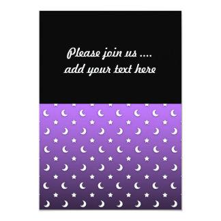 Tiny Stars and Moons on Purple 13 Cm X 18 Cm Invitation Card