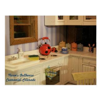 Tiny Tea Kettle in a Tiny Kitchen Postcard