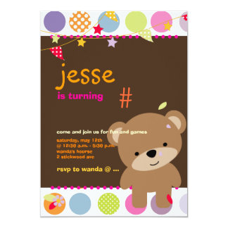 Tiny Teddy Bear Personalized Party Card