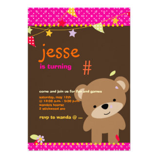 Tiny Teddy Bear Personalized Party Announcement