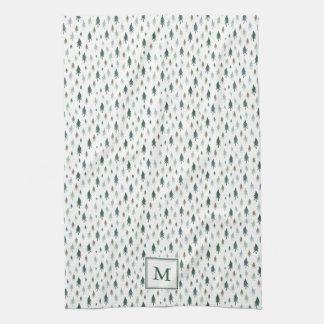 Tiny Trees Monogrammed Christmas Tea Towel