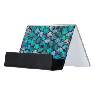 Tiny Turquoise Bling Pattern Desk Business Card Holder