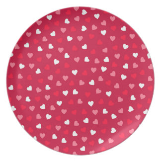 Tiny Valentine Hearts in Red White Pink Plate