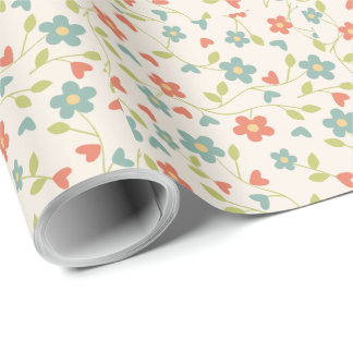 Tiny White, Cream, Aqua, Red & Lime Green Flowers Wrapping Paper