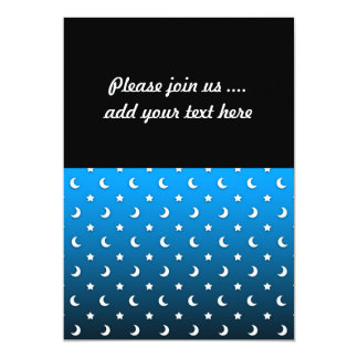 Tiny White Stars and Moons on Blue 13 Cm X 18 Cm Invitation Card