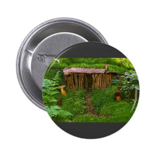 Tiny Wooden House With Mushrooms Button