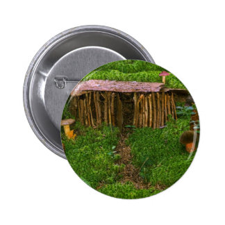 Tiny Wooden House With Mushrooms Pinback Buttons