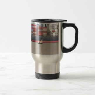 Tiny Yacht  And Huge Container Ship Mug