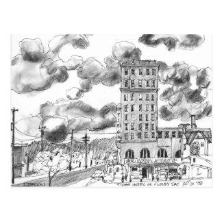 Tioga Hotel on cloudy day, Coos Bay, Oregon Postcard