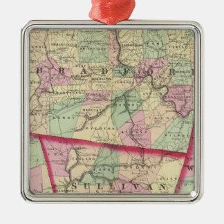 Tioga, Luzerne, Bradford, Sullivan, Wyoming Silver-Colored Square Decoration