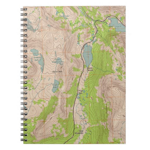 Tioga Pass, California Topographic Map Note Book