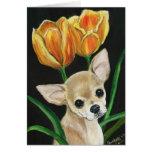 """Tip Toeing Thru The Tulips"" Chihuahua Notecard Greeting Card"
