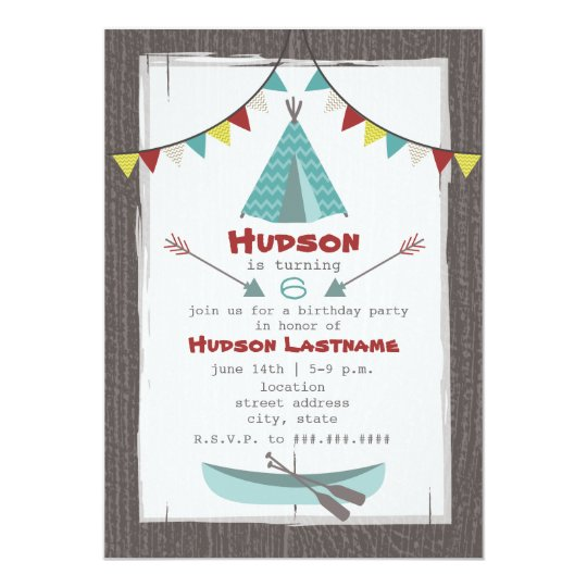 Tipi Birthday Party Invitation Red + Turquoise