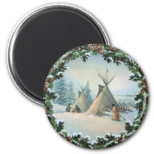 TIPI CAMP SQUAW & BOUGHS by SHARON SHARPE 6 Cm Round Magnet
