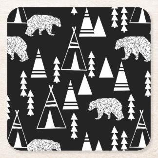 Tipi Forest Bear - Black/White / Andrea Lauren Square Paper Coaster