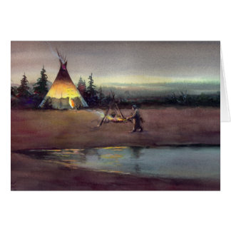TIPI LIGHTS by SHARON SHARPE Greeting Card