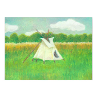 Tipi teepee central Minnesota landscape drawing 13 Cm X 18 Cm Invitation Card