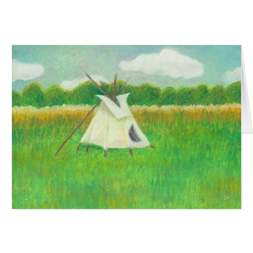 Tipi teepee central Minnesota landscape drawing Greeting Cards